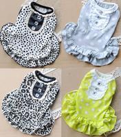 2014 new, pet dress , dog clothes , cotton skirt Polka Dot Leopard pet home [ Buffy ]