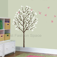 Vinyl Wall Decals Girl Nursery Tree Forest Birds Art Stickers Kids Baby Rooms Decoration Free Shipping Large Size 100 * 173cm