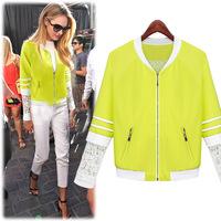 2014 new Autumn and winter  women's fall and winter fashion lace sleeves zip baseball jacket blazer women coat