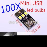 DongZhen 100x 5V 1W Portable Mini USB Power 3 LED Night Light Lamp White Light for Power Bank Computer Laptop