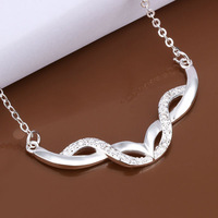 2014 Promotions price!925 sterling silver crystal pendant necklace,women fashion jewelry wholesale N426