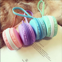 New arrive!! Fashion Candy-color macarons creative Silicone Round  coin purse  cute  key ring 4 color for choose free shipping