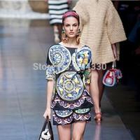 Free Shipping Runway 2014 Brand style Stunning Printed Silk Blouse+Pants Casual Clothing Set