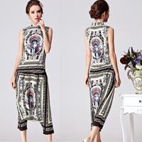 Free Shipping Runway 2014 Brand style Stunning Printed Sleeveless Top + Harem Pants Harem Pants Set-sz