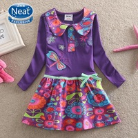 Neat new product baby&kids autumn 2014 fashion long-sleeved printing butterfly tutu cotton opening lapel girl dress L360#