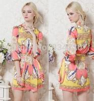 XS-XL DRESS Free Shipping Runway 2014 Brand style Stunning Print Silk belt Dress