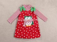 New Super Nice 2-7T Yrs Girl Rare editions Owl Christmas Suit Turtleneck T-Shirt Bowknot Dot Dress Set