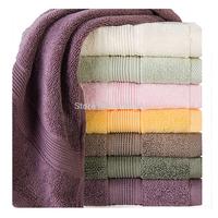Free Shipping 100% Cotton Towel Solid Color Satin Jacquard Face Towel 34*78cm 2PCS/LOT