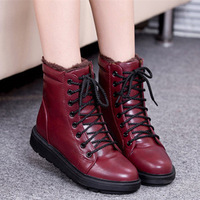 2014 women motorcycle boots fashion casual shoelace women boots winter warm PU leather flats snow boots shoes woman