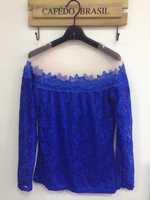 New 2014 Fashion Women's Summer Cotton Blouses Casual Long Sleeve Lace ShirtTops Blusas Femininas Free Shipping
