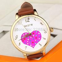 New Fashion Girl Dress Watches Lovely Heart Dial Leather Straps Quartz Women Wristwatch QZ4053 relogio feminino