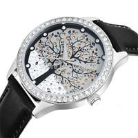 Fashion Women Watch SKONE Brand Tree Dial Leather Straps Quartz Wristwatch Elegant Women Rhinestone Dress Watch QZ4056
