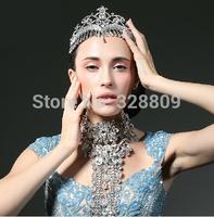 newness luxurious rhinestone bridal diadem Princess crystal crown bridal tiaras wedding  dress accessories