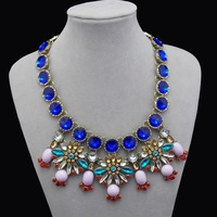 JC shourouk 1pcs lot retail cheap blue flower wedding brides maid jewelry elegant bib necklaces & pendants women