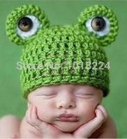 2014 NEW winter Hat Toddler Boy Girl Kids caps Baby Infant Newborn Handmade Crochet Knit Cap Frog Hat Costume Photograph Prop