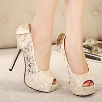 New 2014 Fashion Platform High Heels Women Lace Shoes Sexy Thin Heels Open Toe Women Pumps Ladies Elegant Evening Party Shoes