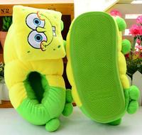 Plush cute 1 pair cartoon Minions SpongeBob Shawn thick winter warm home floor slippers heel cover children holiday girl gift