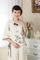 chinese jacket Cotton printing Asian short sleeve Top blouse size 30-38 clothes 140904