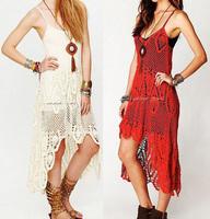 Top Grade Fashion Women Handmade Crochet Dress Bohemian Style Sling Sexy Crochet Dresses Free Shipping