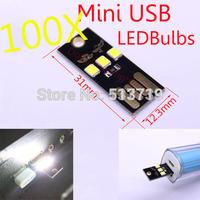 100X DongZhen 5V 1W Portable Mini USB led bulbs Night Light Lamp Touch Switch White Light for Power Bank Computer Laptop