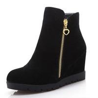 Fashion Plain Round Toe Platform Wedges Boots For Women Vintage Flock Side Zip High Heels Wedges Women Ankle Boots Suede Botas
