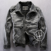 2014 New genuine Leather jacket men Gray Vintage suede 3D skull for Harley motorcycle and Air force fans Winter Autumn