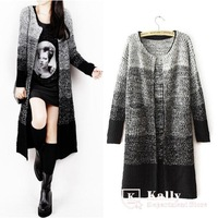fashion gradient color medium-long sweater knitted outerwear loose cardigan