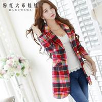 dabuwawa brand women's 2014 autumn and winter fashion new Korean long paragraph Slim plaid woolen coat