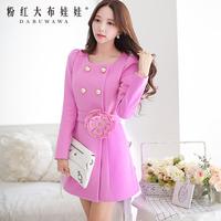 Dabuwawa Brand Women's 2014 Autumn And Winter Fashion New Korean Version Of The Three-Dimensional Flower Rivets Slim Woolen Coat