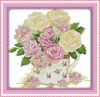 Elegant Rose! 9CT 11CT 14CT DMC Counted Cross Stitch Sets Kits For Needlework Embroidery DIY Cross-Stitch Knitting Needles