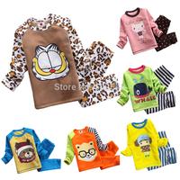 2014 Autumn Winter Children Non-inverted Velvet Set Baby Boys Cartoon Long Sleeve Tops And Pants Sets Kids Clothing 5 SET