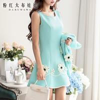 Dabuwawa Brand Women's 2014 Autumn And Winter Fashion New Korean Three-Dimensional Flowers Handmade Nails Light Blue Vest Dress