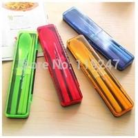 Creative Portable Spoon Chopsticks  Dinner Set Travel Camping Picnic Necessity Tableware Free Shipping