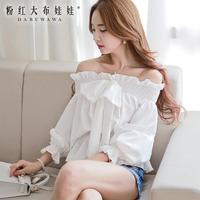 Dabuwawa Brand Women's 2014 Autumn And Winter Fashion New Korean Long-Sleeved Shirt Inlaid Bow Flounced Blouse Women