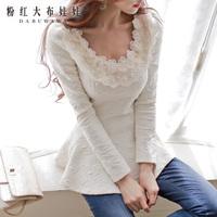 Dabuwawa Brand Women's 2014 Autumn And Winter Fashion New Korean Light Gold Collar Inlay Warm Lady Bottoming T-Shirt Slim