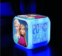 DHL 20pcs LED light Change frozen Digital Alarm Clock Anna Elsa Thermometer Night Colorful Glowing Clock multifunction kids toys