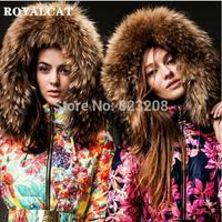 Stunning!!2014 Newest fashion Luxury women long down jacket,Multicolor Print Belt Fur Hooded Down Coat Female women clothing,XXL