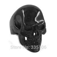 Free shipping! Gothic Black Biker Skull Ring Stainless Steel Jewelry Large Skull Motor Biker Men Ring SWR0264