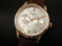 Free EMS shipping  new Glashuett Senator Sixties Calender 18k rose gold white dial