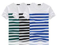 2014 latest men's striped T shirt round neck cotton T-shirt fashion T-shirts