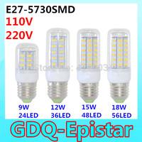 3Pcs SMD 5730 E27 LED lamp 9W=24LED, 12W=36LED, 15W=48LED, 18W=56LED Ultra Bright 5730SMD LED Corn Bulb light Chandelier