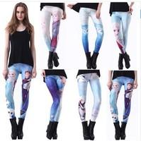Casual 2015 Printed Women brand Frozen Snow Queen Aisha Print Leggings Digital Printing Blue Fun Fashion Girls Punk Pants W00426