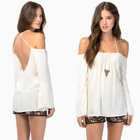 Halter Backless Cross Straps Loose Off Shoulder Women Blouses Tops Sexy Party Shirt Long Sleeve Blusas Femininas c26