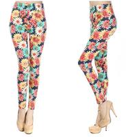 Hot Sale Fashion Women Legging Daisy Pattern Floral Print Stretch Leggings Pants UY1642