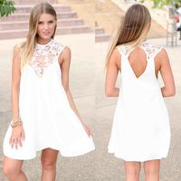 Sexy Backless Vestido De Renda Branco Sleeveless Floral Crochet Lace Dress Boho Summer Beach Dresses White Black c28