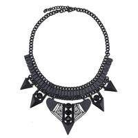 2014 luxury fashion black plated geometric shape resin necklace for women strange statement choker necklace