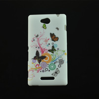 For Sony Xperia C S39h C2305 Case,New Butterfly Flower Love Heart Protective Soft TPU Cover