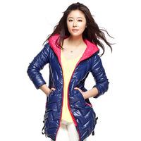 2014 Winter Korean Slim stylish elegant side rope long hooded down jacket women coat