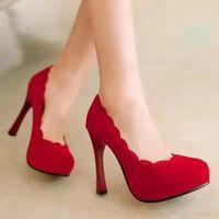 Fashion Round Toe Platform High Heels Women Shoes Vintage Flock Plus Size 34-48 Women Pumps Sexy Ladies Elegant Wedding Shoes