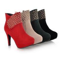 Hot Selling Fashion Women Platform High Heels Ankle Boots Plus Size 34-43 Ladies Luxury Rhinestone Boots Sweet Women Pumps
